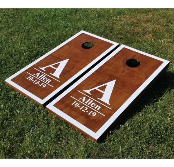 Stained Initial Name and Date Cornhole Game - Name Date