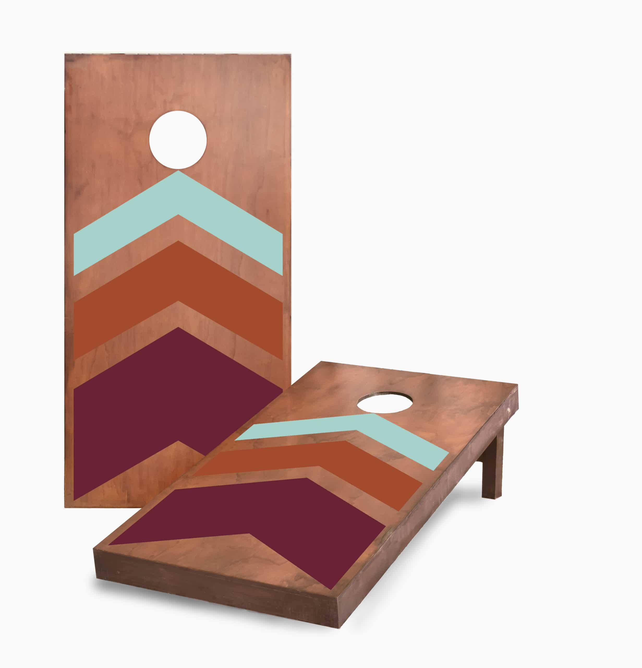 Stained Triple Chevron Cornhole Game With Cornhole Bags