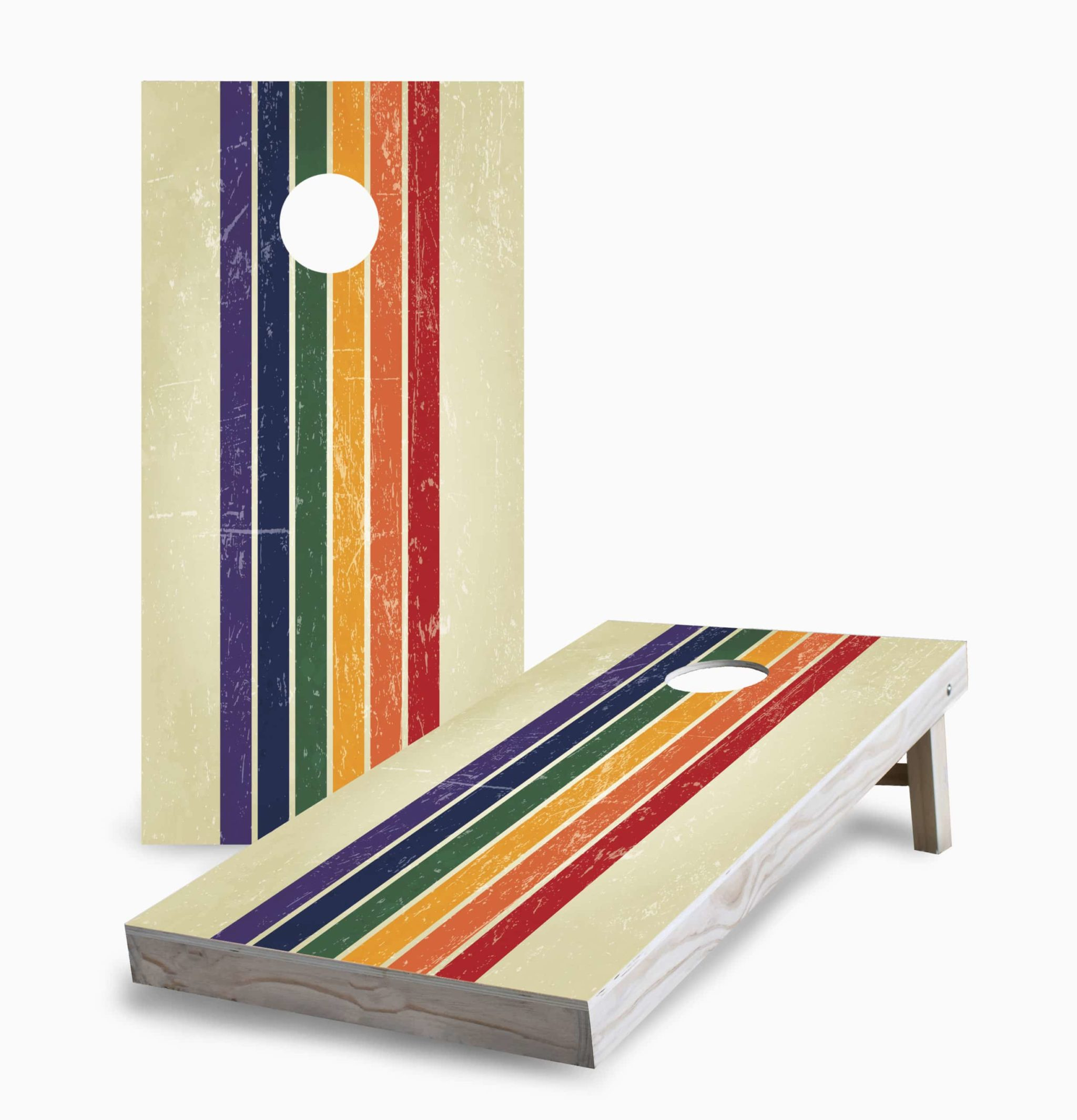 Retro Rainbow Cornhole Game